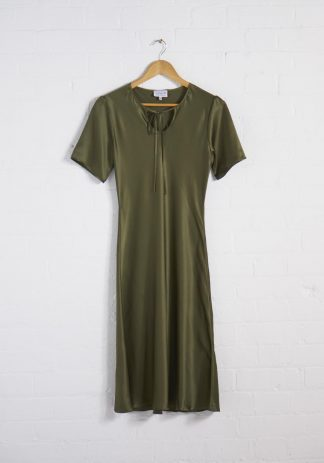 TweedySmith Ali Dress in Olive Satin