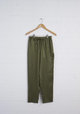 TweedySmith Audrey Pants in Olive Satin