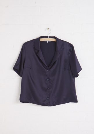 TweedySmith Eva Blouse in Navy Satin