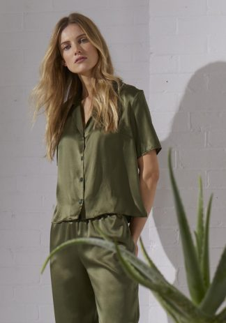 TweedySmith Eva Blouse in Olive Satin
