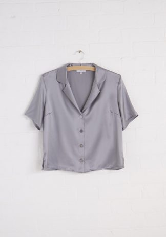 TweedySmith Eva Blouse in Silver Satin