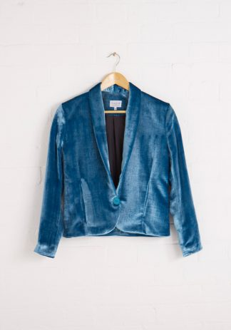 TweedySmith Hepburn Jacket in Peacock Blue Velvet