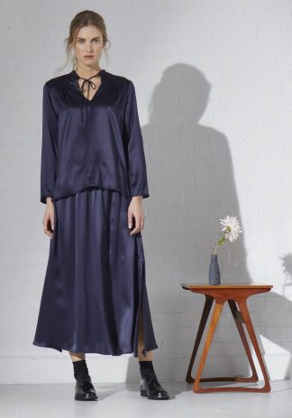 TweedySmith Mulligan Skirt in Navy Satin