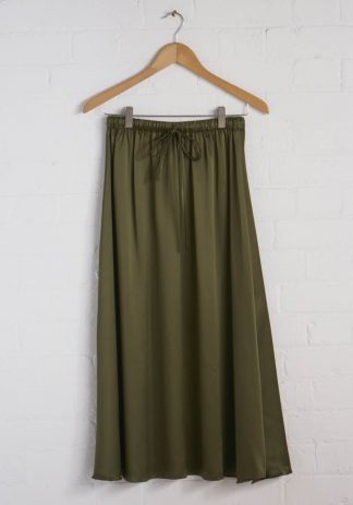 TweedySmith Mulligan Skirt in Olive Satin