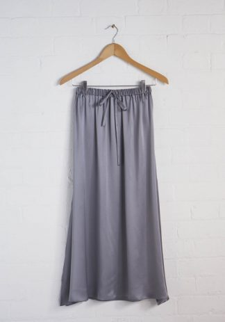 TweedySmith Mulligan Skirt in Silver Satin