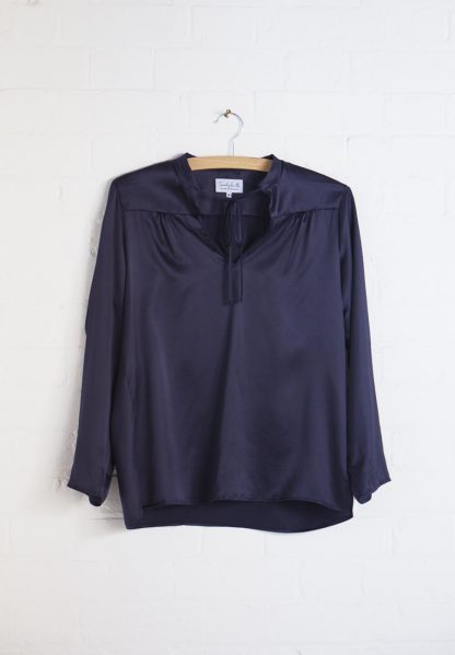 TweedySmith Vanessa Blouse in Navy Satin