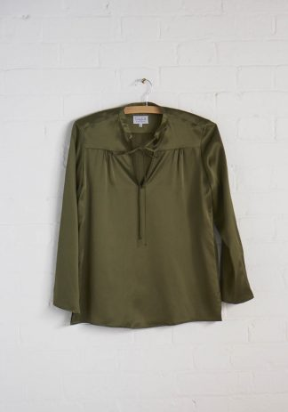 TweedySmith Vanessa Blouse in Olive Satin