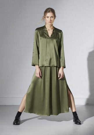 TweedySmith Vanessa Blouse and Mulligan Skirt in Olive Satin