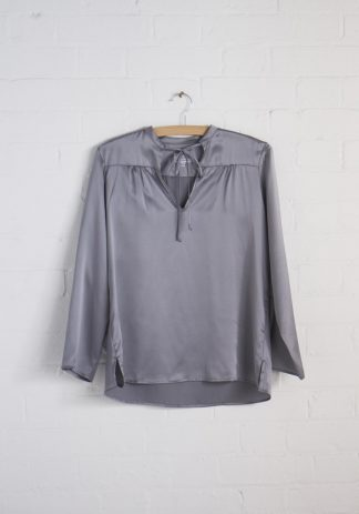TweedySmith Vanessa Blouse in Silver Satin