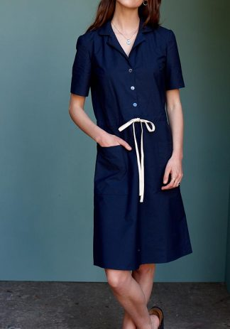 Betty Dress in Navy Cotton