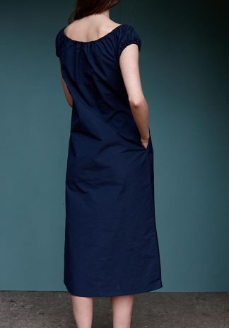 Laura Dress in Navy Cotton